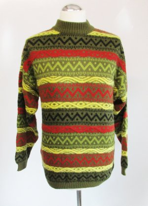Vintage Stehkragen Strick Pullover Größe M 38 40 Grün Gelb Rot Wolle Angora Norweger Muster Pulli Rollkragen 60er 70er Turtelneck
