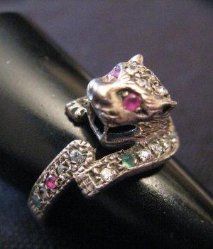 Vintage Sterling 925 Silber Panther Smaragd Rubin Ring Leo Leopard Edelstein Silberring