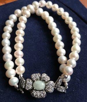 Vintage Sterling Silber Perlenarmband Zuchtperlen, Jade und Kristalle Perlen Armband