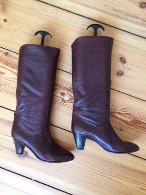 Slouch Boots bordeaux-brown red leather