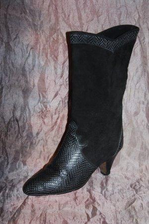 Vintage Stiefel Leder schwarz edel 36 Italy snakeprint