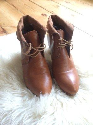 Vintage Stiefel Stiefeletten von H&M Gr. 38 Cognac boho schick