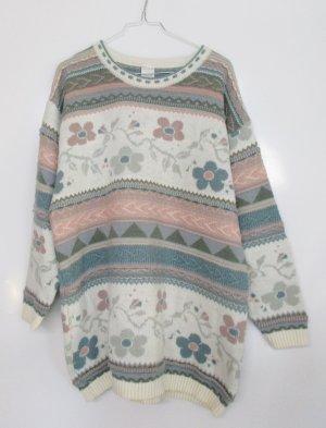Vintage Strick Pullover Longpulli Größe L  40 42 44 Muster Pastell Grau Wollweiß Rosa Blau Wolle Pulli Oversize 80er Jaquard