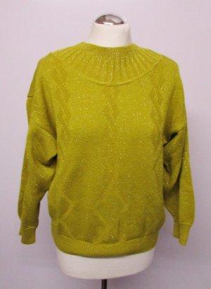 Vintage Strick Pullover Lurex Größe M 38 40 Maisgelb Gelb Turtelneck Glitzer Zopfmuster Rauten Pulli Strickpullover Norweger Jumper