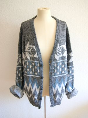 Vintage Strickcardigan Norweger, oversized Cardigan grau Winter, blogger alternative