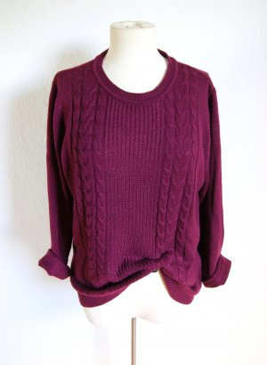 Vintage Strickpullover burgundy,  leichter Strickpullover Zopfmuster bordeaux, alternative blogger
