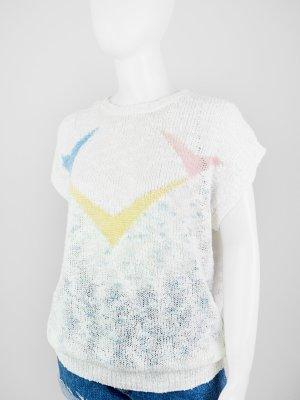 Sweater met korte mouwen veelkleurig Gemengd weefsel