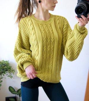 Vintage Strickpullover senfgelb, oversized Pullover Zopfmuster, cozy blogger alternative