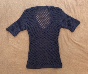 Top en maille crochet bleu