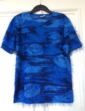 Vintage Strickshirt kurzarm blau Rosen Trend Blogger