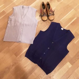 Knitted Top beige-dark blue