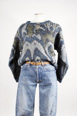 Vintage Studio Pullover Wolle Leinen Premium Qualität Strick WARM Muster