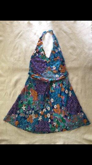 Vintage Vestido de cuello Halter multicolor