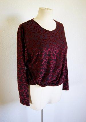 Vintage Sweater floral gemustert, Samtpullover bordeaux oversized