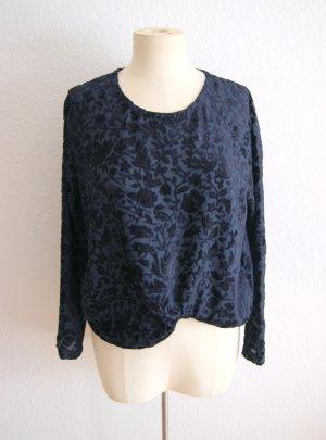 Vintage Sweatshirt dunkelblau, oversized Samtshirt floral, boho festival blogger