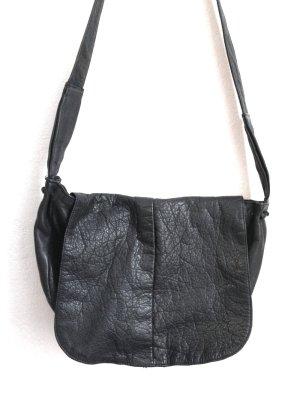 Vintage Tasche aus echtem Leder 38x25x7cm, graublau