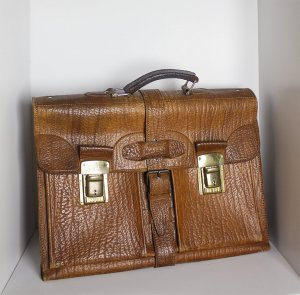 Briefcase bronze-colored-brown leather