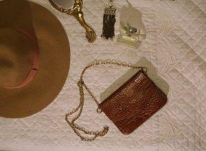 Vintage Tasche LA TOSCANA Metallkette Braun Croco-Optik