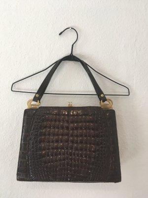 Vintage Tasche Leder Kroko Muster braun