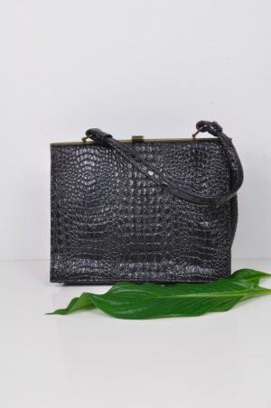 Vintage Tasche mit Schlangenlederimitat in Schwarz