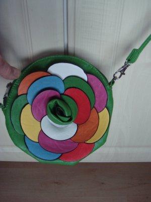 Vintage - Tasche Trägertasche Handtasche  Henkeltasche grün Rose Blume bunt