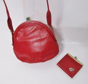 Vintage Taschen Set Handtasche Geldbörse Rot Leder Kirschrot Goldfarben Rund Clip Bügelverschluss Tasche Clutch Rockabilly