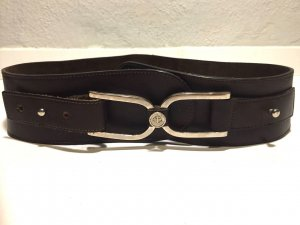Waist Belt silver-colored-black brown leather
