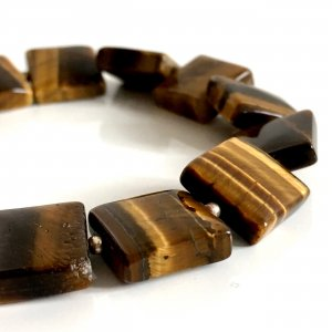 Vintage Tigerauge Edelstein Modernist Armband Karabinerverschluß silber Goldquarz Katzenaugen-Quarz