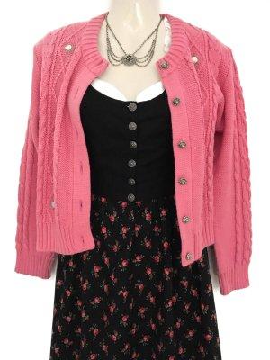 Vintage Trachtenjacke Jacke Strickjacke Tracht Rosen Zopfmuster Rosa Wiesn