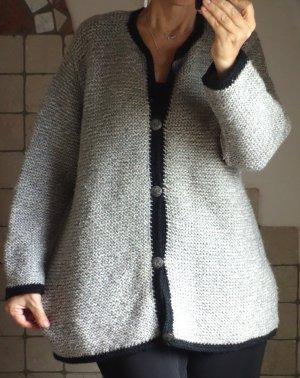 Vintage Trachtenjacke, Strick Janker, Damen Strickweste, 100% Wolle, Strick, grau meliert mit schwarzer Einfassung, Trachten Knöpfe Metall, zünftig, wandern, Tracht, warm, Herbst, hochwertig, hervorragender Zustand, Gr. L