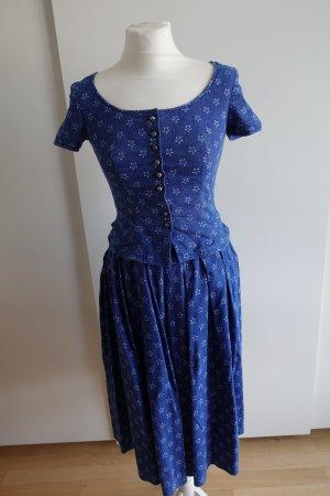 Vestido Dirndl azul-blanco Lino
