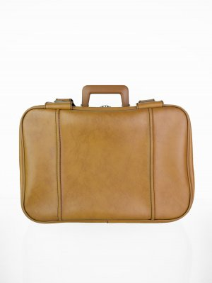 Suitcase cognac-coloured-silver-colored