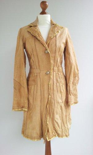 Vintage Trenchcoat / Mantel / Gehrock in 36/38, Camel / Beige / Gold, Leder & Lurex-Fäden
