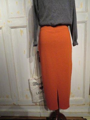 Vintage Tubeskirt Terrakotta Orange Maxiskirt Strickrock Merinowolle Schlitz warm gerippt Winter Wollrock Maxirock