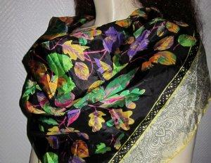 Vintage Tuch Halstuch Schal Blatt Blätter schwarz bunt Paisley Rand wie neueu
