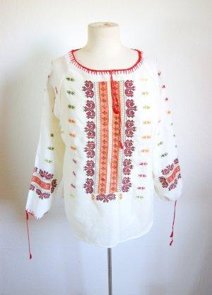 Vintage Tunika cremeweiß, Folklore Bluse Stickerei ornamental-bohème, 60er boho festival hippie