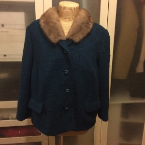 Vintage Tweed Jacke mit Nerz Gr. 38 top Zustand