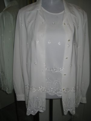 Vintage Twin Set Weiss Spitze Top & Bluse Gr.42/44