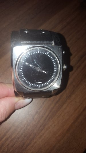 Fossil Watch With Leather Strap black