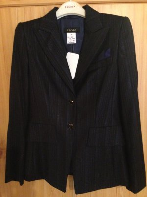 Escada Tuxedo Blazer dark blue-silver-colored mixture fibre