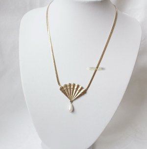 Vintage Collier Necklace gold-colored-white