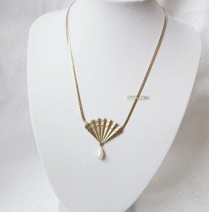 Vintage Collier goud-wit