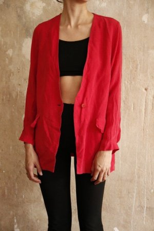 Vintage Denim Blazer bright red-red viscose