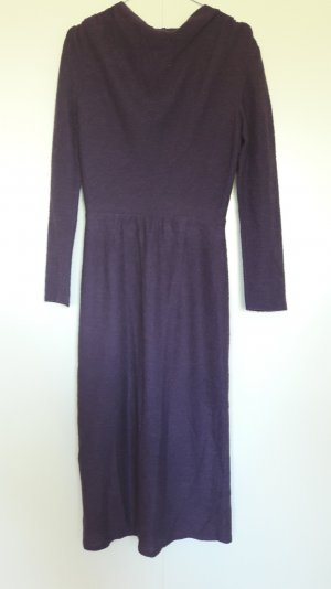 Vintage wadenlanges Kleid langarm lila figurbetont Gr. 36