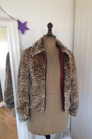 Vintage Webpelz Jacke Ungetragen Fake Fur Leopard