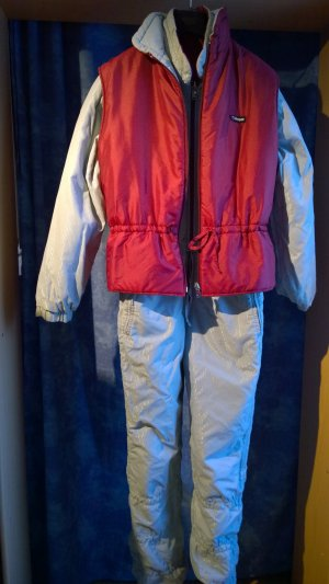 Pantalone da neve grigio chiaro-rosso scuro