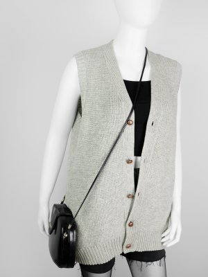 Knitted Vest grey-oatmeal new wool
