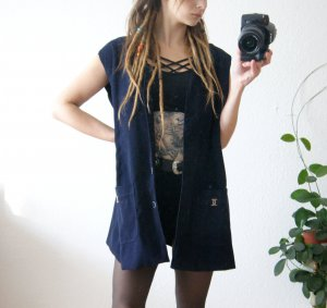 Vintage Weste dunkelblau, oversized Weste nachtblau Suede, festival blogger alternative