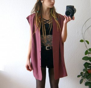 Vintage Weste flieder, oversized Weste bonbon, blogger alternative