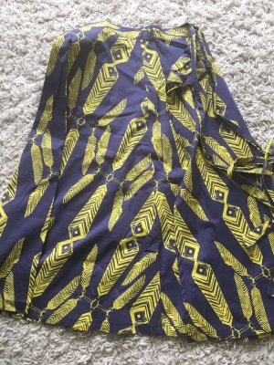 Wraparound Skirt dark blue-neon yellow